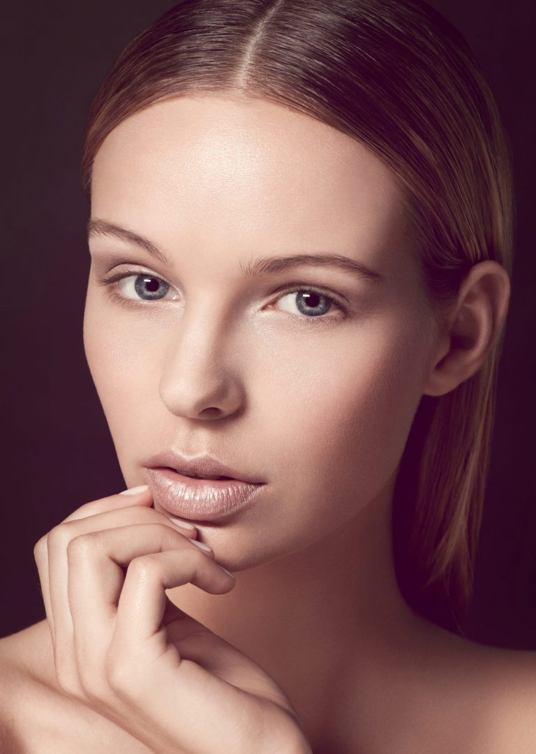 kathy chau, hair and makeup artist, ina seyer, beauty, nude, clean, slicked back hair, natural, soft glow